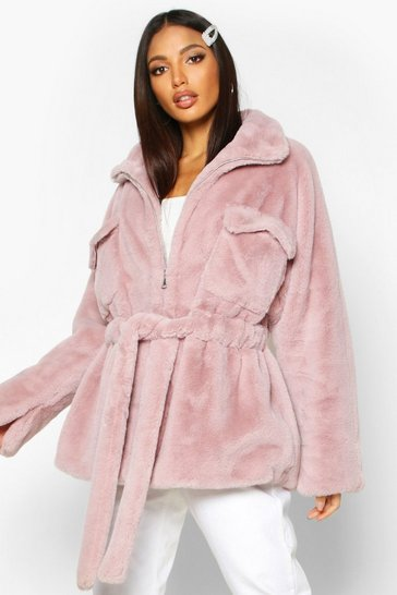 Womens Mauve Faux Fur Belted Utility Jacket