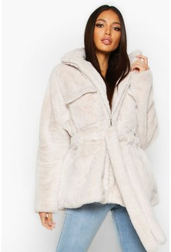 Faux Fur Belted Utility Jacket, Cream, Femme