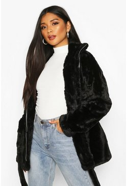 Faux Fur Belted Utility Jacket, Black, ЖЕНСКОЕ