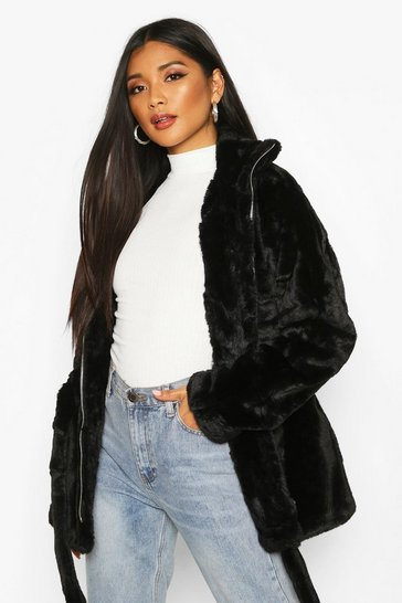 Womens Black Faux Fur Belted Utility Jacket
