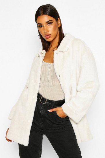 Womens Cream Belted Faux Suede Lined Faux Fur Coat