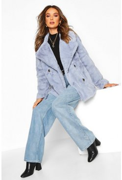 Womens Denim-blue Double Breasted Faux Fur Coat