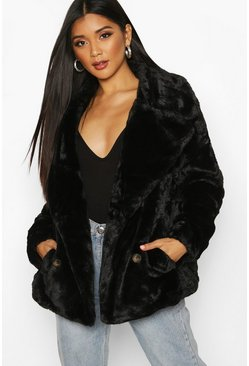 Double Breasted Faux Fur Coat, Black, Donna