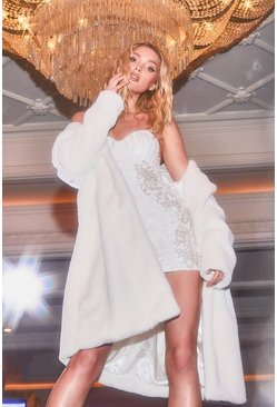 White Revere Collar Faux Fur Coat