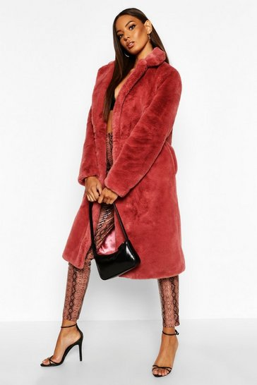 Womens Rose Revere Collar Faux Fur Coat