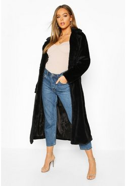 Revere Collar Faux Fur Coat, Black