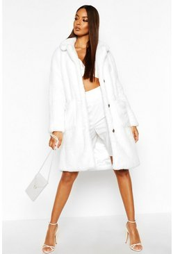Womens White Button Through Double Pocket Faux Fur Coat