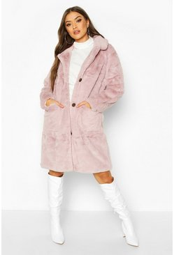 Mauve Button Through Double Pocket Faux Fur Coat