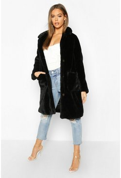 Black Button Through Double Pocket Faux Fur Coat