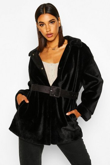 Womens Black Belted Faux Suede Lined Faux Fur Coat