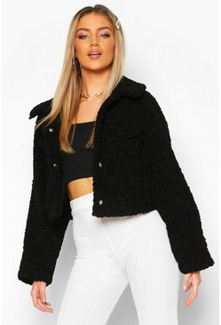 Dam Black Bonded Teddy Faux Fur Trucker