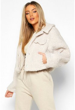 Womens Cream Bonded Teddy Faux Fur Trucker