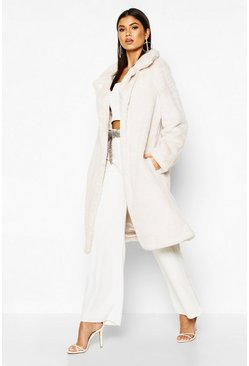 Womens Cream Collared Faux Fur Belted Robe Coat
