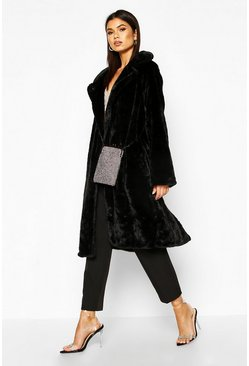 Womens Black Collared Faux Fur Belted Robe Coat