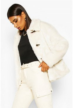 Womens Cream Duffle Faux Fur Jacket