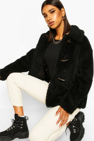 Womens Black Duffle Faux Fur Jacket