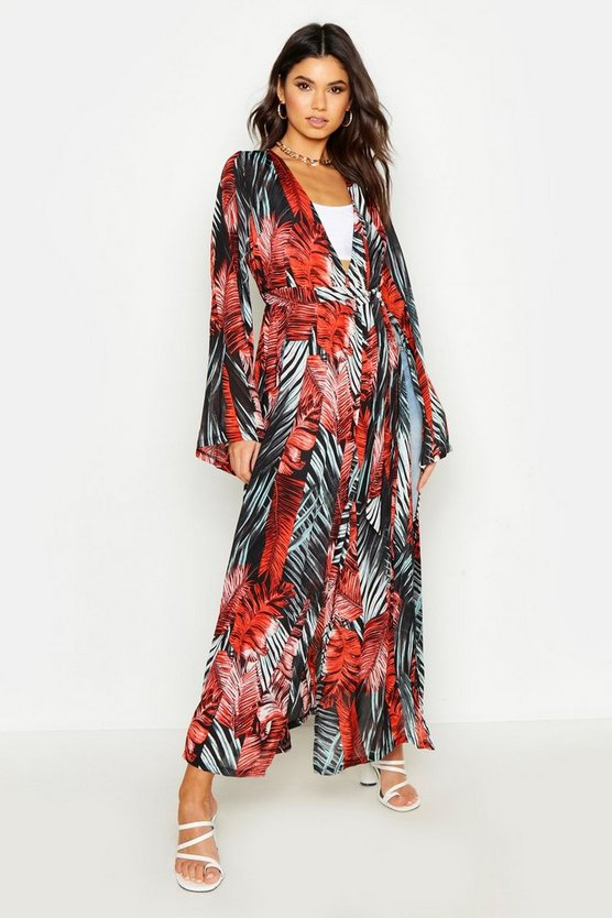 Womens Black Palm Print Side Split Kimono