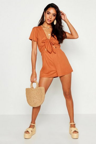 Womens Terracotta Linen Look Knot Front Playsuit