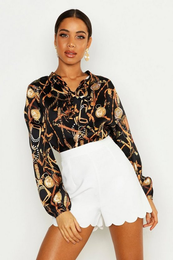 Womens Black Satin Chain Print Pussy Bow Blouse