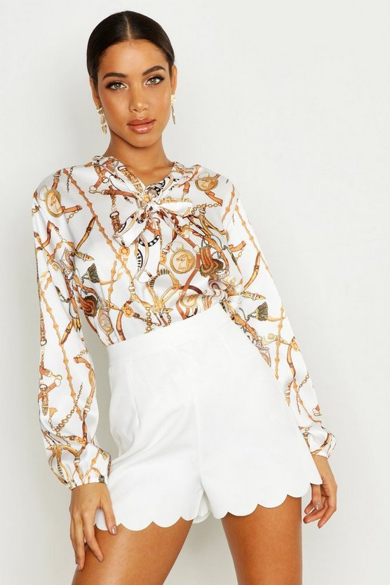 Womens White Satin Chain Print Pussy Bow Blouse