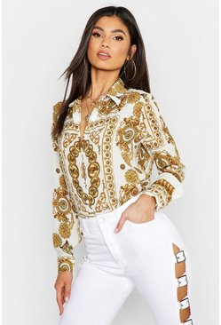 Womens White Satin Chain Print Shirt
