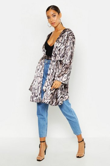 Womens Brown Leopard Satin Belted Kimono