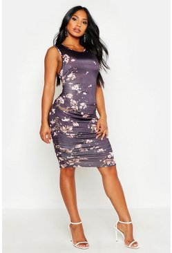Black Printed Slinky Tank Ruched Midi Dress