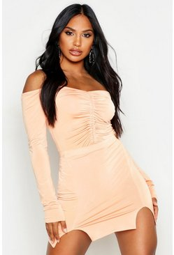 Womens Peach Off The Shoulder Slinky Ruched Bodysuit
