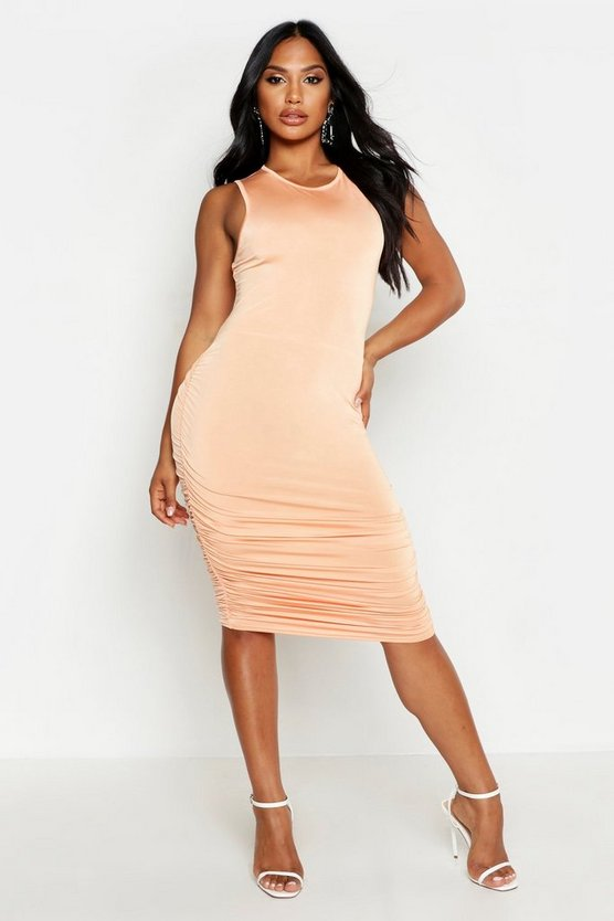 Womens Peach Slinky Tank Ruched Midi Dress