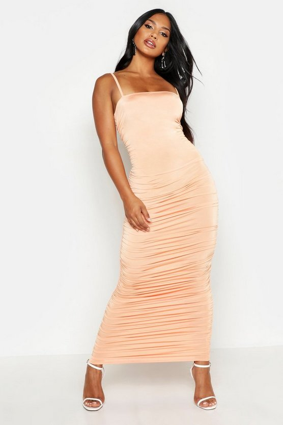 Womens Peach Strappy Square Neck Ruched Midaxi Dress