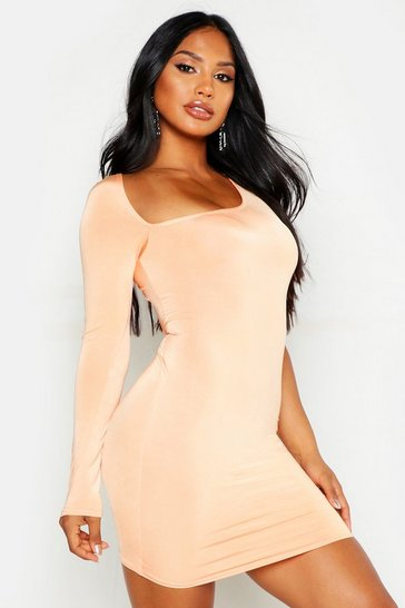 Womens Peach Slash Neck One Shoulder Slinky Dress