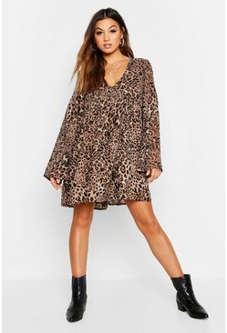 Womens Natural Woven Leopard V Neck Smock Dress