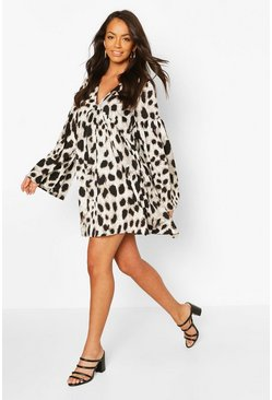 White Woven Large Scale Leopard Smock Dress