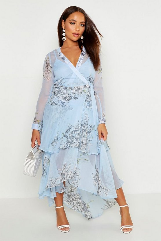 Floral Chiffon Ruffle Layer Maxi Dress by Boohoo