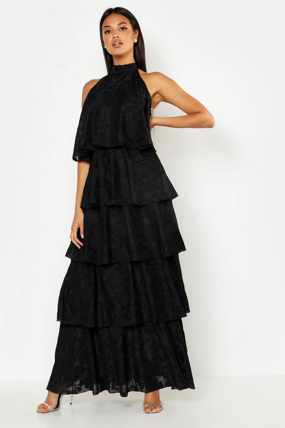 Womens Black Frill Layered Halter Neck Maxi Dress