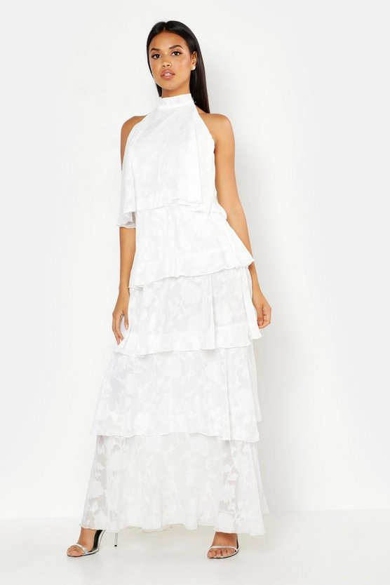Womens White Frill Layered Halter Neck Maxi Dress