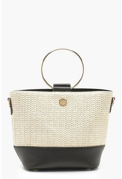 Womens Black Ring Handle Straw Day Bag