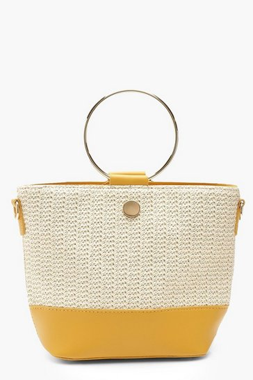 Womens Mustard Ring Handle Straw Day Bag