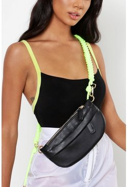 Womens Neon-lime Rope Belt Front Body Bum Bag