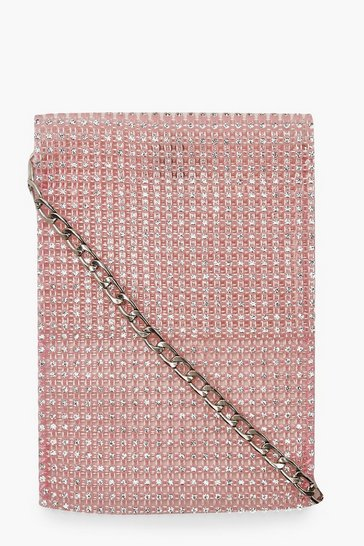 Womens Pink Diamante Chain Mail Cross Body Bag