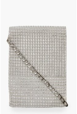 Womens White Diamante Chain Mail Cross Body Bag