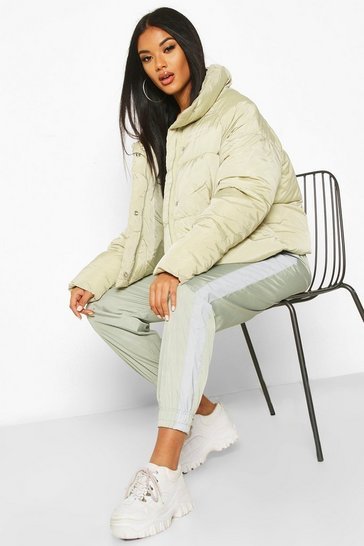 Womens Sage Cropped Panelled Funnel Neck Puffer