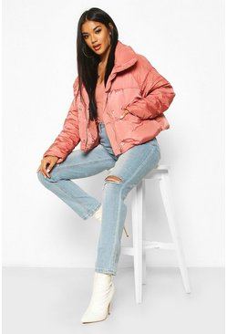 Desert rose Cropped Panelled Funnel Neck Puffer