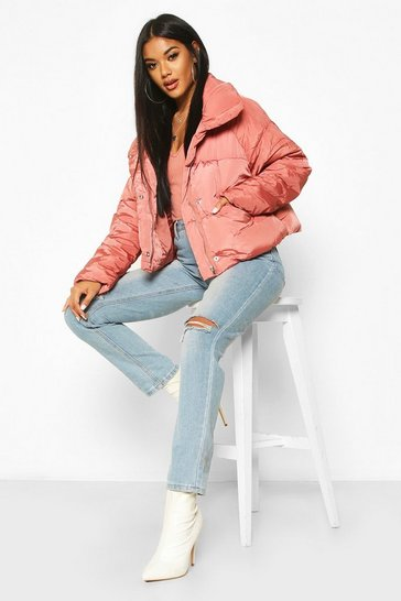Womens Desert rose Cropped Panelled Funnel Neck Puffer