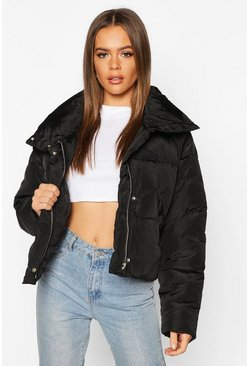 Womens Black Cropped Panelled Funnel Neck Puffer