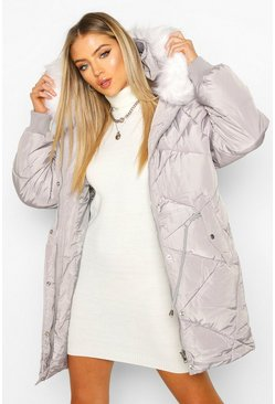 Grey Drawcord Waist Quilted Parka