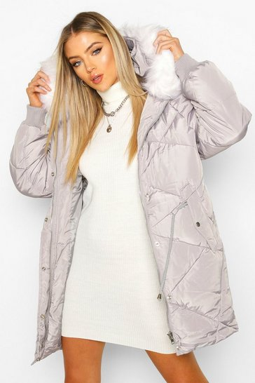 Womens Grey Drawcord Waist Quilted Parka