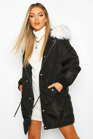 Womens Black Drawcord Waist Quilted Parka