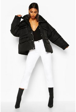 Womens Black Double Pocket Funnel Neck Puffer