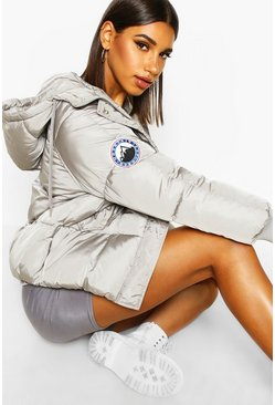 Grey Hooded Quilted Puffer